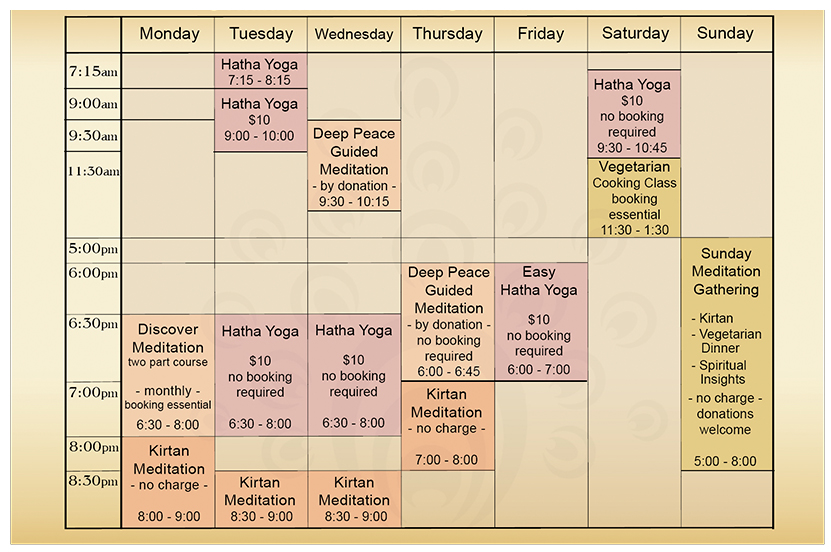Gokula House Meditation and Yoga Timetable