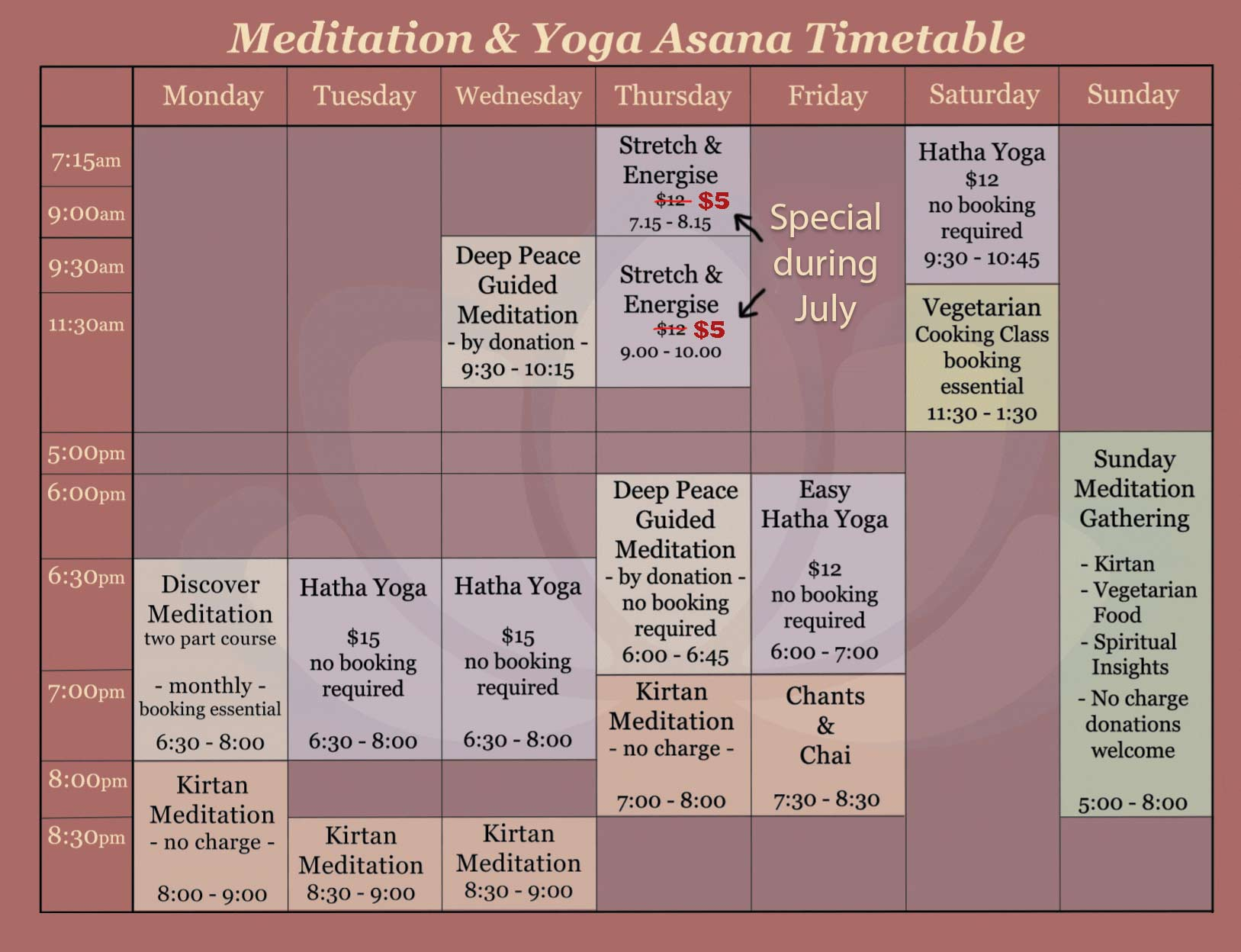 Yoga and Meditation in Melbourne Timetable