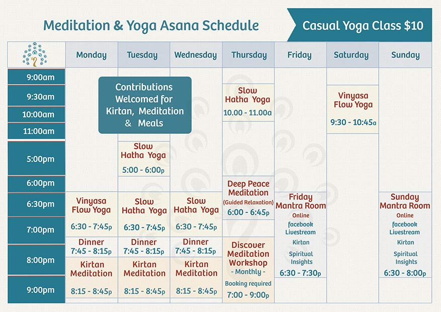 Fitzroy Yoga Meditation Weekly Schedule