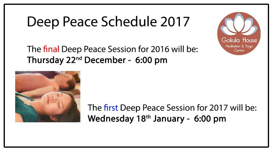 Deep Peace Meditation Melbourne Schedule 2017